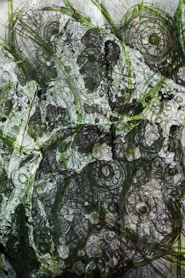 Mixed-Media Malerei in grün und weiß