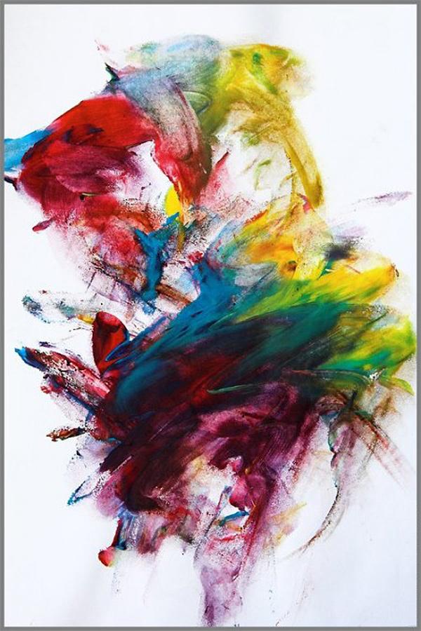 Eine abstrakte Regenbogen-Malerei