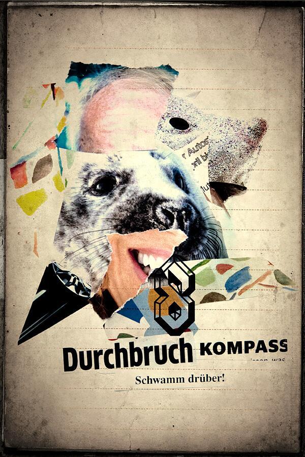 Eine dadaistische Collage mit einem Seehund
