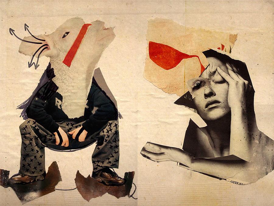 Eine Collage mir roten Strichen