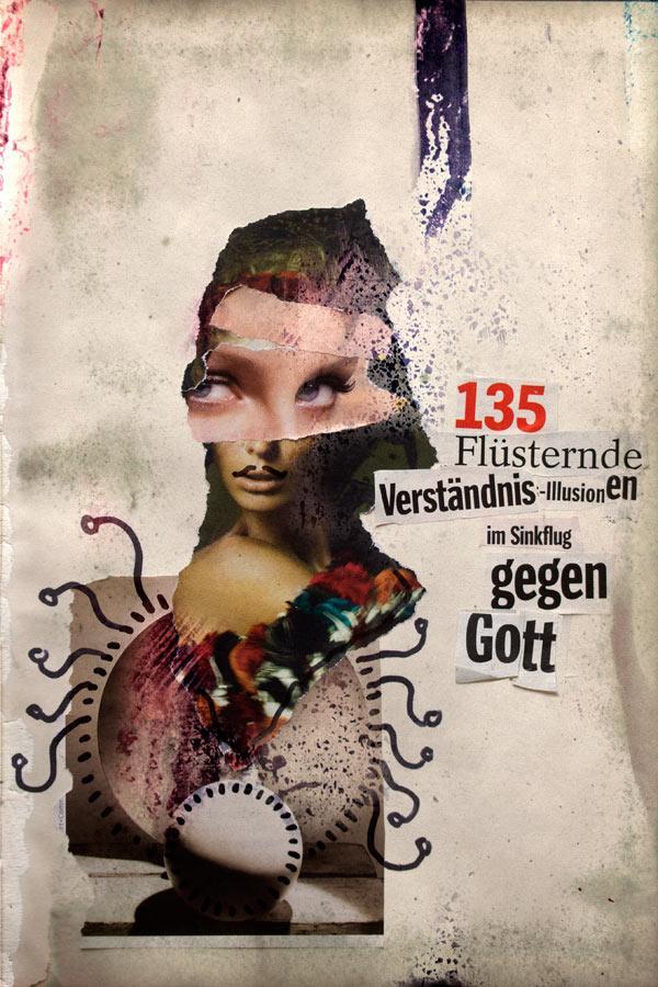 Eine dadaistische Collage mit einem schnurrbärtigen Orakel